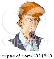 Clipart Of A Talking Donald Trump Caricature Royalty Free Illustration