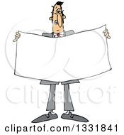 Clipart Of A Cartoon White Business Man Holding A Blank Sign Or Banner Royalty Free Vector Illustration