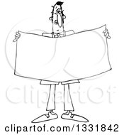 Lineart Clipart Of A Cartoon Black And White Business Man Holding A Blank Sign Or Banner Royalty Free Outline Vector Illustration