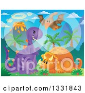 Cute Pterodactyl Triceratops And T Rex Dinosaurs With An Erupting Volcano