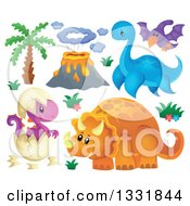 Clipart Of A Palm Tree Volcano And Dinosaurs 2 Royalty Free Vector Illustration