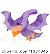 Clipart Of A Happy Cute Purple Pterodactyl Dinosaur In Flight Royalty Free Vector Illustration