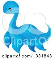 Clipart Of A Cartoon Blue Cute Pliosaur Dinosaur Royalty Free Vector Illustration
