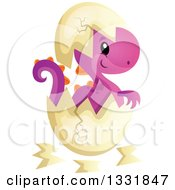 Clipart Of A Cartoon Cute Hatching Purple Baby Dinosaur Royalty Free Vector Illustration