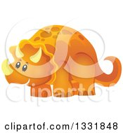 Clipart Of A Happy Orange Triceratops Dinosaur Royalty Free Vector Illustration