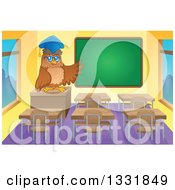 Clipart Of A Professor Owl Presenting A Chalk Board In A Class Room Royalty Free Vector Illustration