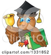 Clipart Of A Professor Owl Holding A Book And Ringing A Bell Royalty Free Vector Illustration