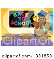 Clipart Of A Professor Owl Holding A Book And Ringing A Bell In A Class Room By A Back To School Black Board Royalty Free Vector Illustration