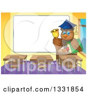 Clipart Of A Professor Owl Holding A Book And Ringing A Bell In A Class Room By A Blank White Board Royalty Free Vector Illustration