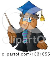 Clipart Of A Professor Owl Holding A Pointer Stick Royalty Free Vector Illustration by visekart