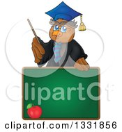 Clipart Of A Professor Owl Holding A Pointer Stick Over An Apple On A Chalk Board Royalty Free Vector Illustration