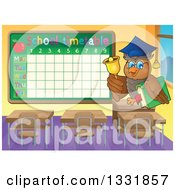 Clipart Of A Professor Owl Holding A Book And Ringing A Bell In A Class Room By A Time Table Royalty Free Vector Illustration