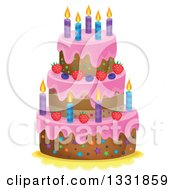 Clipart Of A Cartoon Birthday Cake With Pink Frosting Berries And Candles Royalty Free Vector Illustration