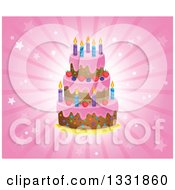 Clipart Of A Cartoon Birthday Cake With Frosting Berries And Candles Over A Pink Star Burst Royalty Free Vector Illustration by visekart