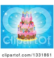 Clipart Of A Cartoon Birthday Cake With Frosting Berries And Candles Over A Blue Star Burst Royalty Free Vector Illustration by visekart