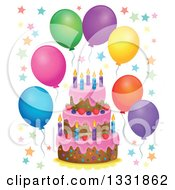 Clipart Of A Cartoon Birthday Cake With Colorful Stars And Party Balloons Royalty Free Vector Illustration
