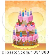 Clipart Of A Cartoon Birthday Cake Over Orange With Flares Royalty Free Vector Illustration by visekart