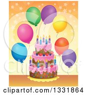 Clipart Of A Cartoon Birthday Cake With Colorful Stars And Party Balloons Over Orange Royalty Free Vector Illustration by visekart