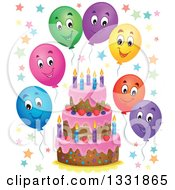 Clipart Of A Cartoon Birthday Cake With Colorful Stars And Happy Party Balloons Royalty Free Vector Illustration by visekart