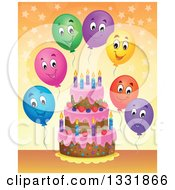 Clipart Of A Cartoon Birthday Cake With Colorful Stars And Happy Party Balloons Over Orange Royalty Free Vector Illustration by visekart