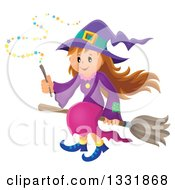 Clipart Of A Happy Halloween Witch Girl Sitting On A Broom And Holding A Magic Wand Royalty Free Vector Illustration