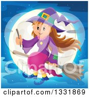 Clipart Of A Happy Halloween Witch Girl Sitting On A Broom And Holding A Magic Wand Over A Full Moon Royalty Free Vector Illustration by visekart