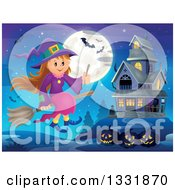 Clipart Of A Happy Halloween Witch Girl Sitting On A Broom And Holding A Magic Wand Over Jackolanterns A Haunted House Full Moon And Bats Royalty Free Vector Illustration