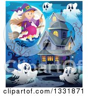 Clipart Of A Happy Halloween Witch Girl Sitting On A Broom And Holding A Magic Wand Over Ghosts A Full Moon And Haunted House Royalty Free Vector Illustration by visekart