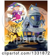 Clipart Of A Happy Halloween Witch Girl Sitting On A Broom And Holding A Magic Wand Over Bats A Full Moon And Haunted House At Sunset Royalty Free Vector Illustration by visekart