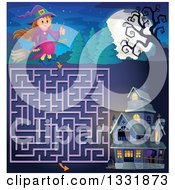 Clipart Of A Happy Halloween Witch Girl Sitting On A Broom And Holding A Magic Wand Over A Maze To A Haunted House Royalty Free Vector Illustration