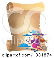 Clipart Of A Happy Halloween Witch Girl Sitting On A Broom And Holding A Magic Wand Over A Full Moon With Bats On A Blank Parchment Scroll Page Royalty Free Vector Illustration by visekart