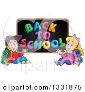 Clipart Of A Caucasian Boy And Girl Waving And Sitting Under A Back To School Black Board Royalty Free Vector Illustration by visekart