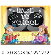 Clipart Of A Caucasian Boy And Girl Waving And Sitting Under A Sketched Back To School Black Board Royalty Free Vector Illustration