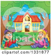 Clipart Of A Caucasian Boy And Girl Waving And Sitting By A School Building Royalty Free Vector Illustration