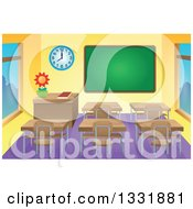 Clipart Of A Class Room Interior With A Blank Chalk Board And Desks Royalty Free Vector Illustration