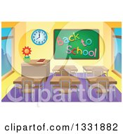 Clipart Of A Class Room Interior With A Back To School Chalk Board And Desks Royalty Free Vector Illustration