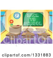 Clipart Of A Class Room Interior With A Sketched Back To School Greeting On A Chalk Board And Desks Royalty Free Vector Illustration