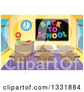 Clipart Of A Class Room Interior With A Back To School Black Board And Desks Royalty Free Vector Illustration