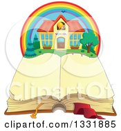 Clipart Of A School Building In A Rainbow Over An Open Book Royalty Free Vector Illustration