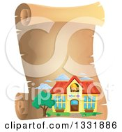 Clipart Of A School Building On A Black Parchment Scroll Royalty Free Vector Illustration