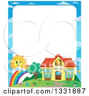 Clipart Of A School Building Rainbow And Sun Border With Text Space Royalty Free Vector Illustration