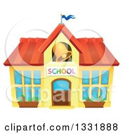 Clipart Of A School Building With A Ringing Bell Royalty Free Vector Illustration