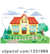Clipart Of A School Building With A Ringing Bell And Clouds Royalty Free Vector Illustration