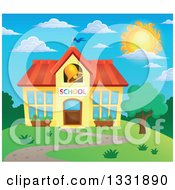 Clipart Of A School Building With A Ringing Bell Against A Blue Sky And Sun Royalty Free Vector Illustration