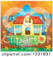 Clipart Of A School Building With A Ringing Bell Framed By Autumn Trees Royalty Free Vector Illustration