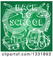 Clipart Of A Green Chalkboard With Back To School Text And Items Sketched On It Royalty Free Vector Illustration