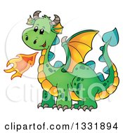 Clipart Of A Cartoon Green Fire Breathing Dragon Royalty Free Vector Illustration by visekart