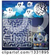 Clipart Of A Halloween Ghost Full Moon And Haunted House Maze Royalty Free Vector Illustration