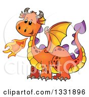 Clipart Of A Cartoon Orange Fire Breathing Dragon Royalty Free Vector Illustration by visekart