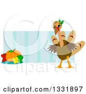 Cartoon Turkey Bird Over Blue Stripes With A Pumpkin And Bell Peppers